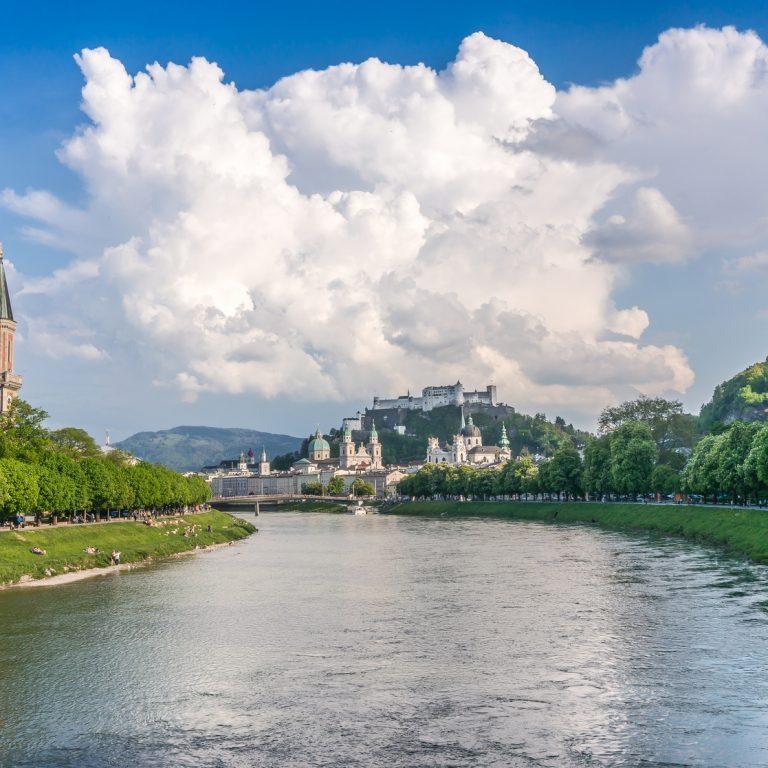 Historic city of Salzburg with river Salzach in summer, Austria